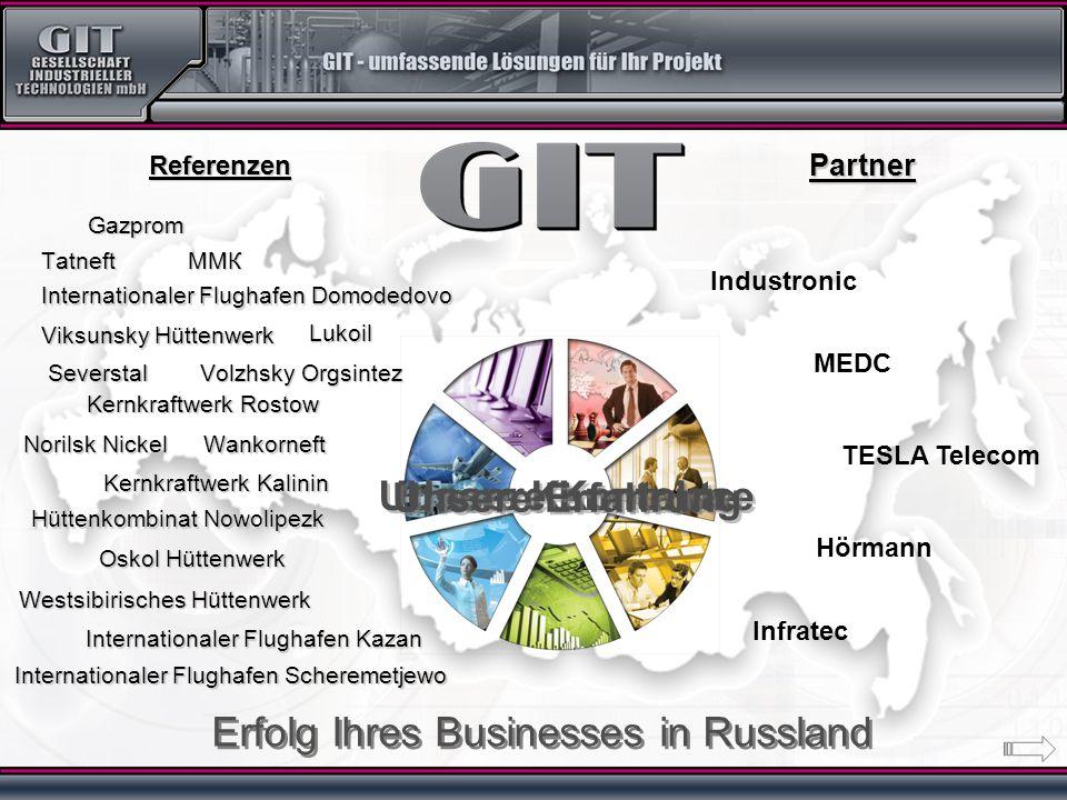 Unsere Kenntnisse Unsere Kontakte Erfolg Ihres Businesses in Russland Industronic MEDC TESLA Telecom ММК Gazprom Lukoil Tatneft Wankorneft Severstal K