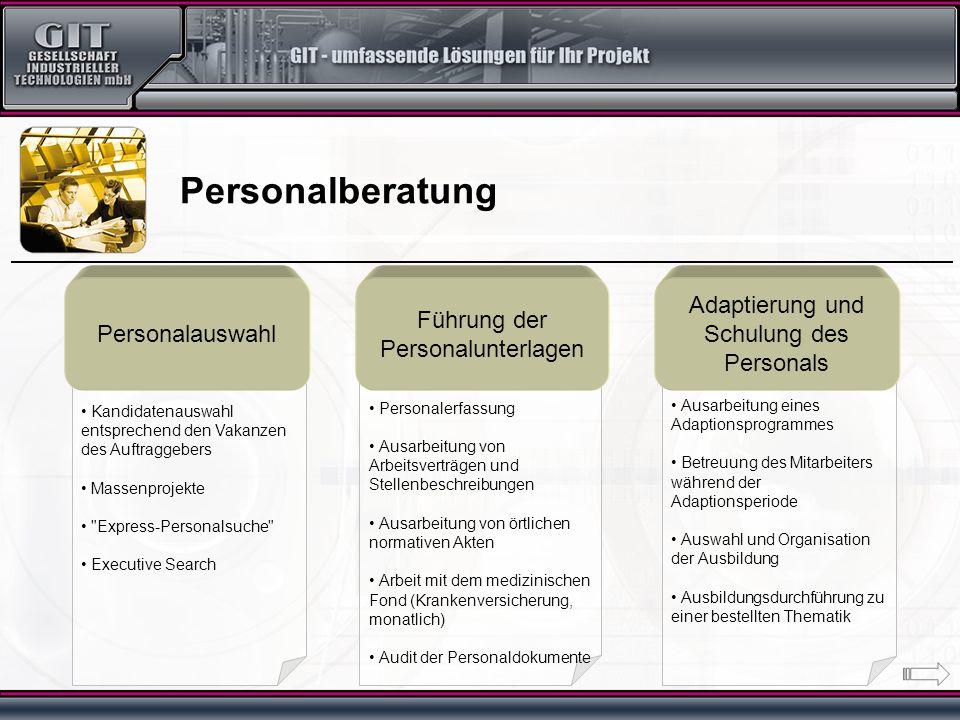 Ausarbeitung eines Adaptionsprogrammes Betreuung des Mitarbeiters während der Adaptionsperiode Auswahl und Organisation der Ausbildung Ausbildungsdurc