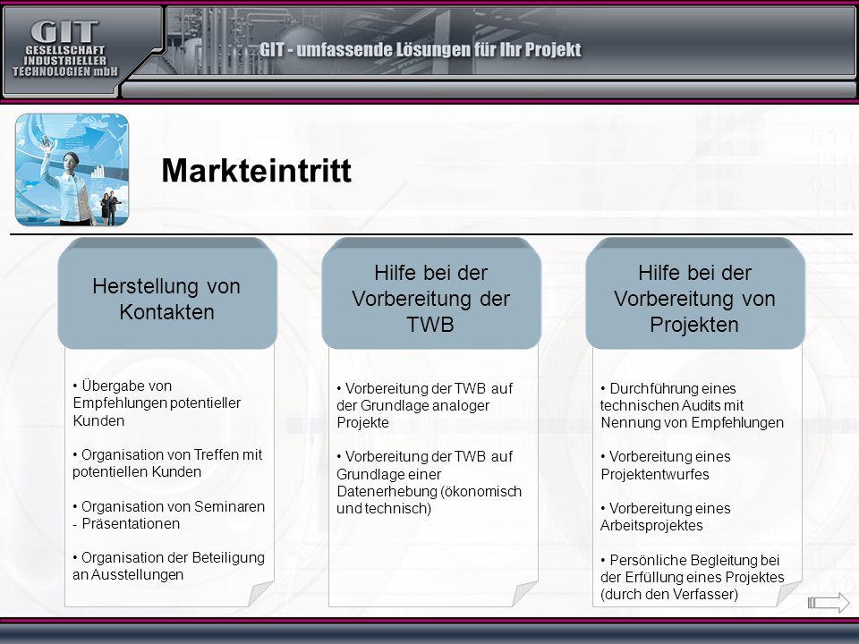 Durchführung eines technischen Audits mit Nennung von Empfehlungen Vorbereitung eines Projektentwurfes Vorbereitung eines Arbeitsprojektes Persönliche