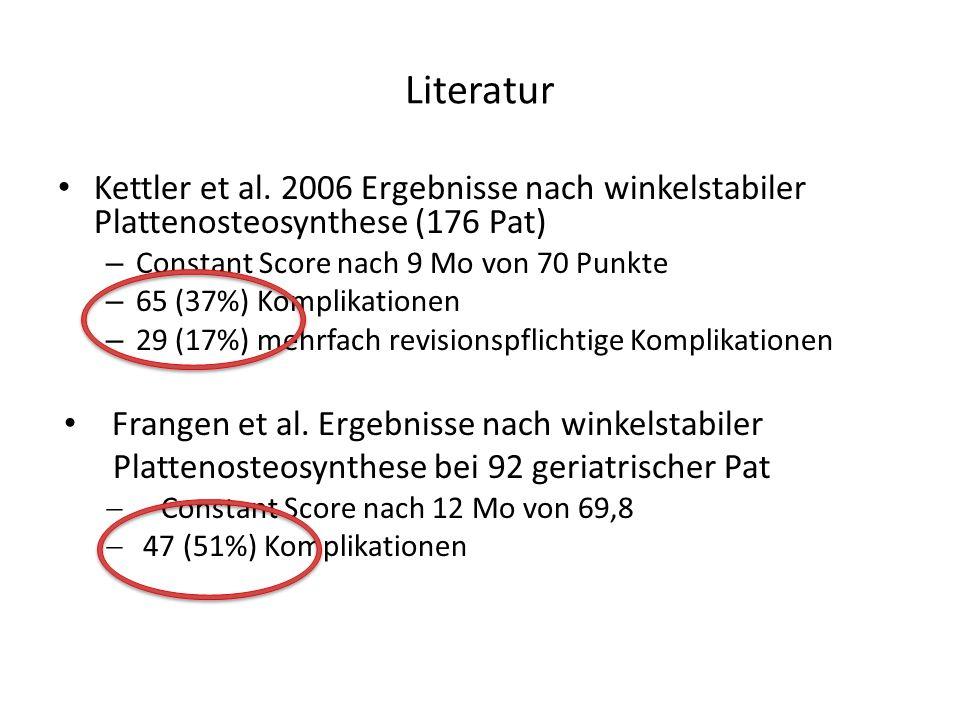Literatur Kettler et al. 2006 Ergebnisse nach winkelstabiler Plattenosteosynthese (176 Pat) – Constant Score nach 9 Mo von 70 Punkte – 65 (37%) Kompli
