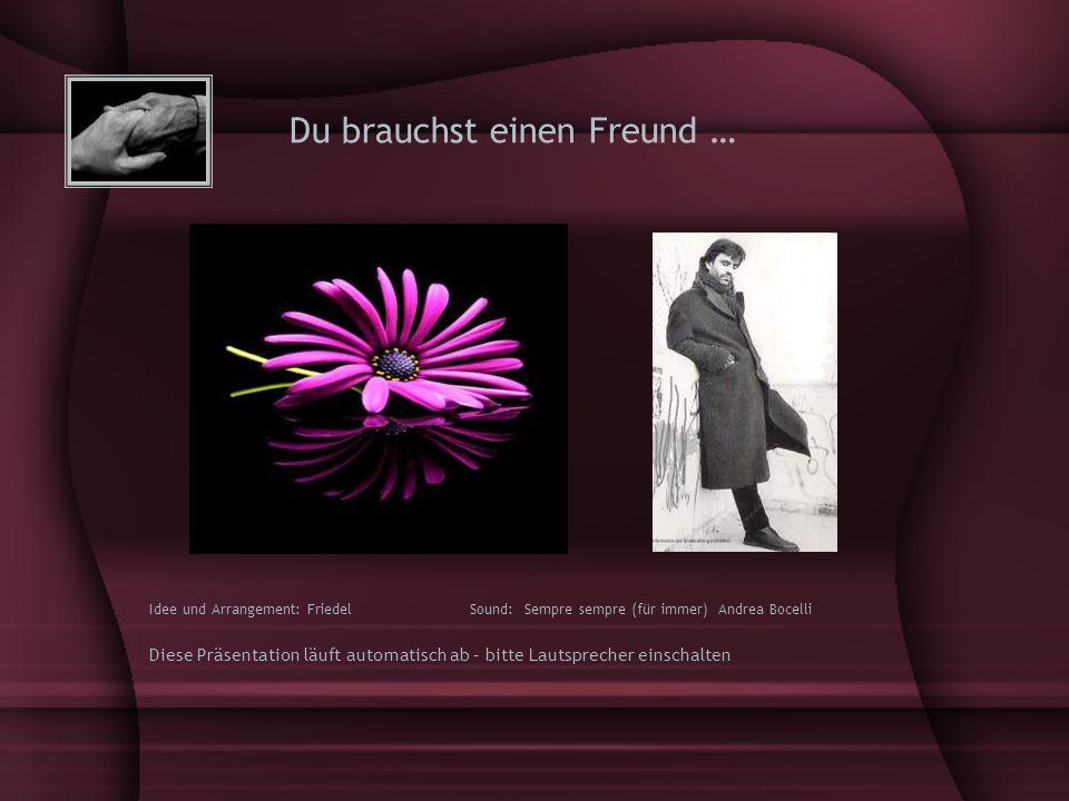 Du brauchst einen Freund … Idee und Arrangement: Friedel Sound: Sempre sempre (für immer) Andrea Bocelli Diese Präsentation läuft automatisch ab – bitte Lautsprecher einschalten