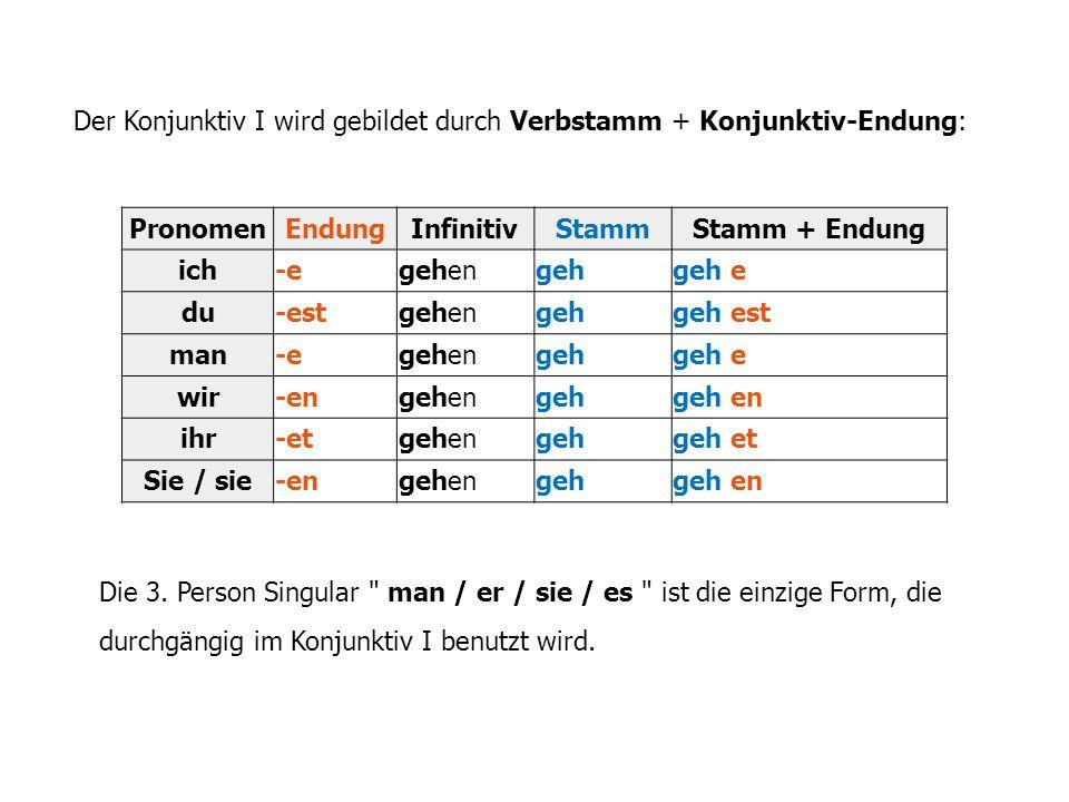 Folgende Tabelle zeigt auf, welche Konjunktivformen bei welchen Personen angewandt werden: Rot = Konjunktiv I Grün = Konjunktiv II seinhabenwerdenModalverbenandere Verben ich seihättewürdekönnewürde gehen du sei(e)st hättest habest würdest werdest könntestwürdest gehen er / sie / es seihabewerdekönnegehe wir seienhättenwürdenkönntenwürden gehen ihr sei(e)thättetwürdetkönntetwürdet gehen Sie / sie seienhättenwürdenkönntenwürden gehen