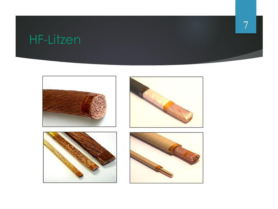 Gegenmaßnamen  Hohe Frequenzen über mehrere isolierte Drähte  Kabel mit Rechteckigem Querschnitt oder HF-Litzen  Wenn nicht möglich andere Leitungen mit mit großem Querschnitt und Oberfläche  Bei Spulen: Abstand von Draht zu Draht ungefähr der Durchmesser des Drahtes 8