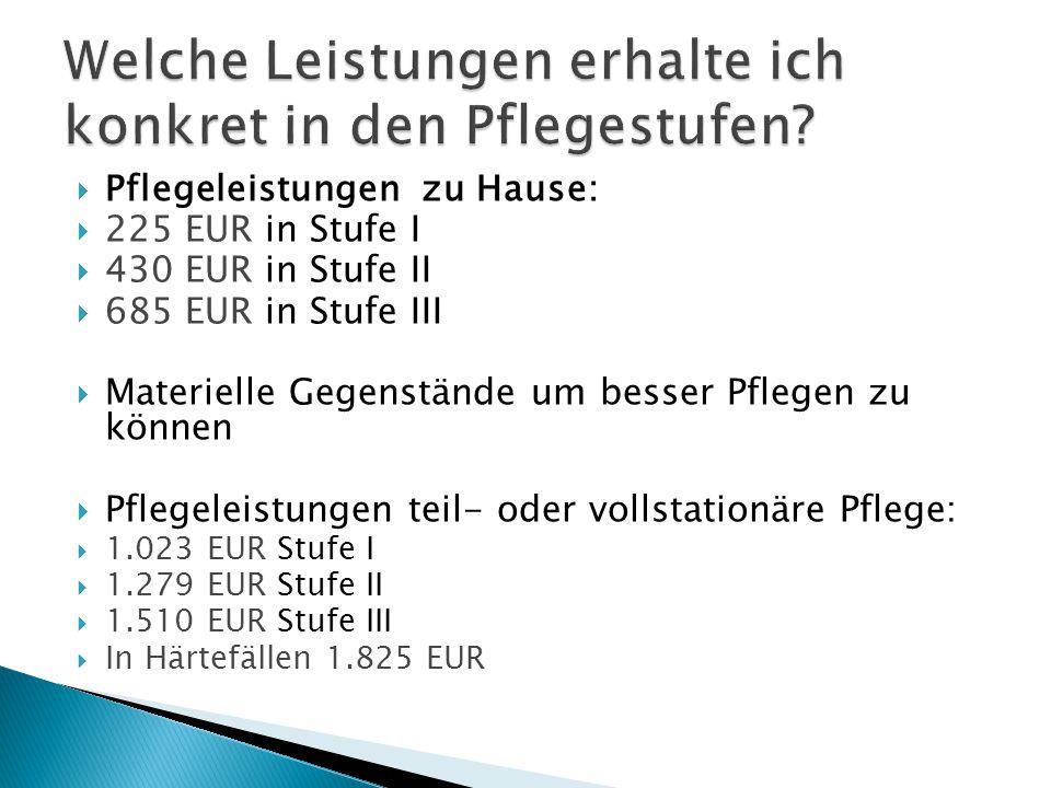 Pflegeleistungen zu Hause:  225 EUR in Stufe I  430 EUR in Stufe II  685 EUR in Stufe III  Materielle Gegenstände um besser Pflegen zu können  Pflegeleistungen teil- oder vollstationäre Pflege:  1.023 EUR Stufe I  1.279 EUR Stufe II  1.510 EUR Stufe III  In Härtefällen 1.825 EUR