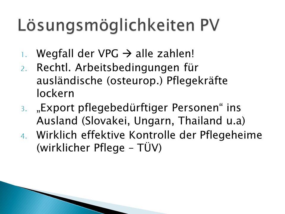 """1. Wegfall der VPG  alle zahlen! 2. Rechtl. Arbeitsbedingungen für ausländische (osteurop.) Pflegekräfte lockern 3. """"Export pflegebedürftiger Persone"""