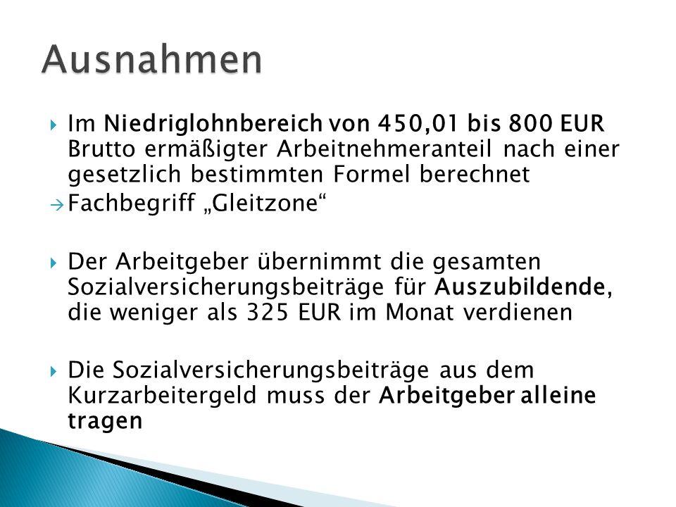 """ Im Niedriglohnbereich von 450,01 bis 800 EUR Brutto ermäßigter Arbeitnehmeranteil nach einer gesetzlich bestimmten Formel berechnet  Fachbegriff """"G"""