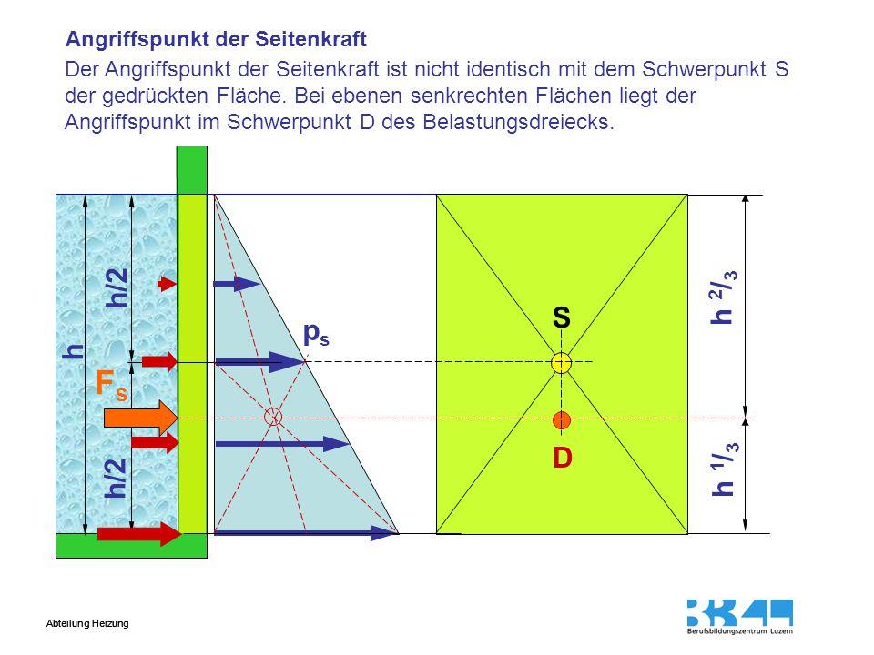 Abteilung Heizung S D h h/2 psps FsFs h 2 / 3 h 1 / 3 Angriffspunkt der Seitenkraft Der Angriffspunkt der Seitenkraft ist nicht identisch mit dem Schw