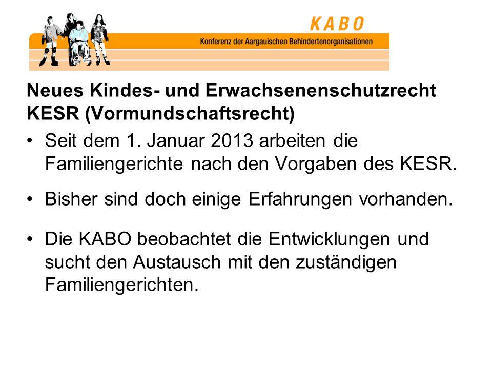 Neues Kindes- und Erwachsenenschutzrecht KESR (Vormundschaftsrecht) Seit dem 1. Januar 2013 arbeiten die Familiengerichte nach den Vorgaben des KESR.