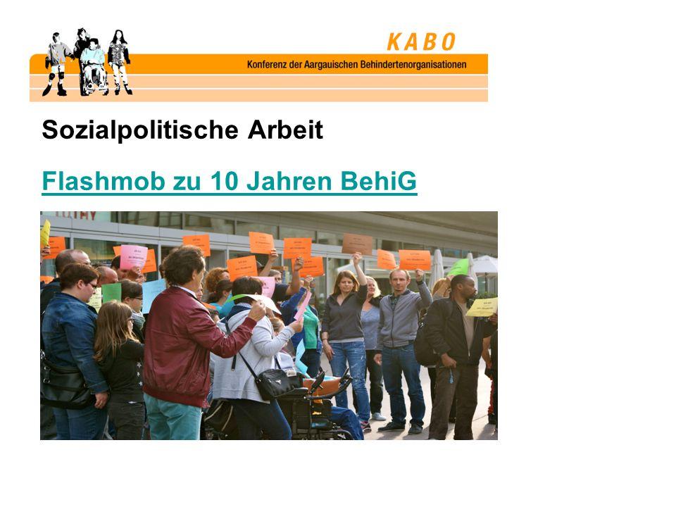 Sozialpolitische Arbeit Flashmob zu 10 Jahren BehiG