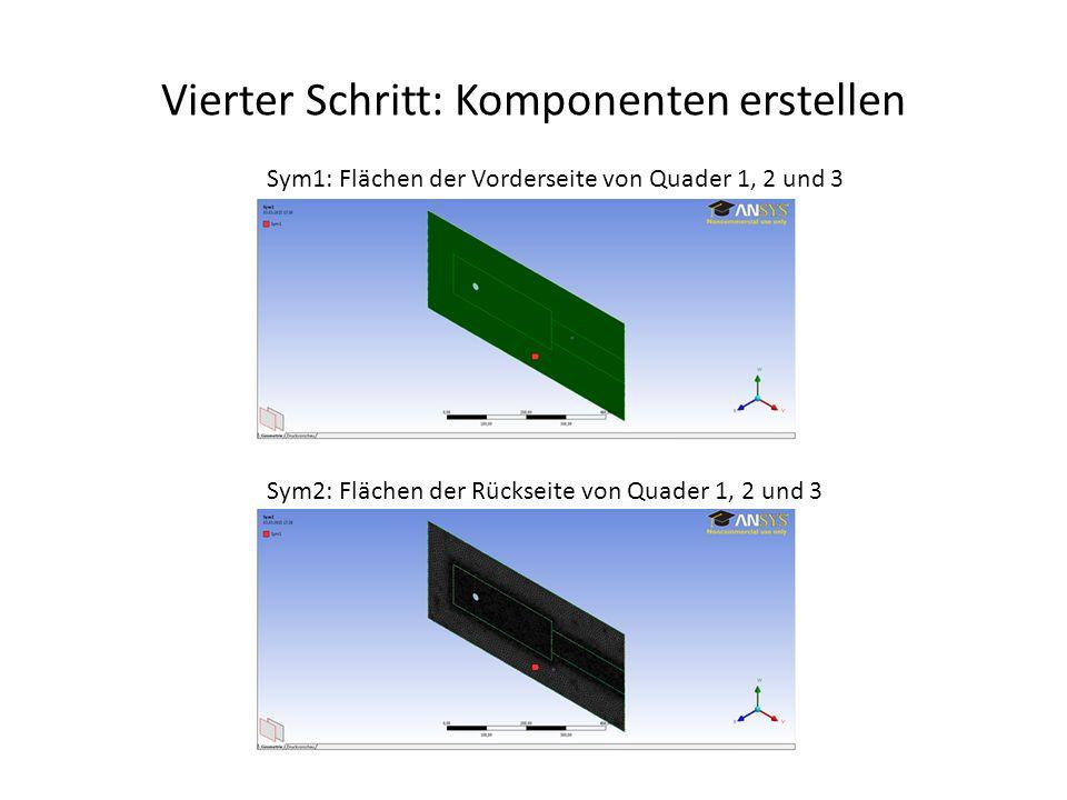 Vierter Schritt: Komponenten erstellen Sym1: Flächen der Vorderseite von Quader 1, 2 und 3 Sym2: Flächen der Rückseite von Quader 1, 2 und 3