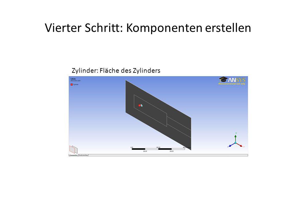 Vierter Schritt: Komponenten erstellen Zylinder: Fläche des Zylinders