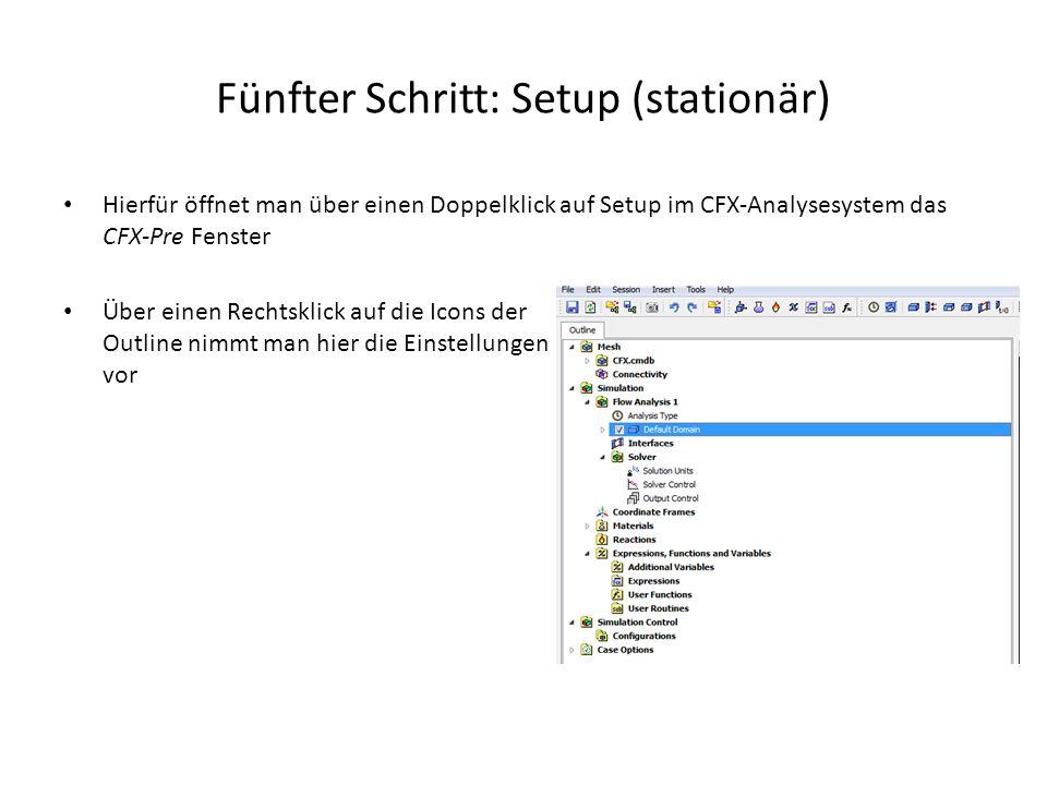 Fünfter Schritt: Setup (stationär) Hierfür öffnet man über einen Doppelklick auf Setup im CFX-Analysesystem das CFX-Pre Fenster Über einen Rechtsklick
