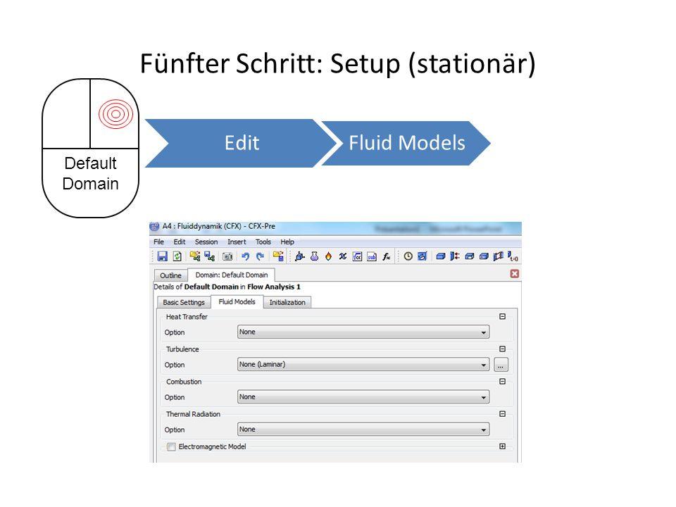 Fünfter Schritt: Setup (stationär) Default Domain Edit Fluid Models