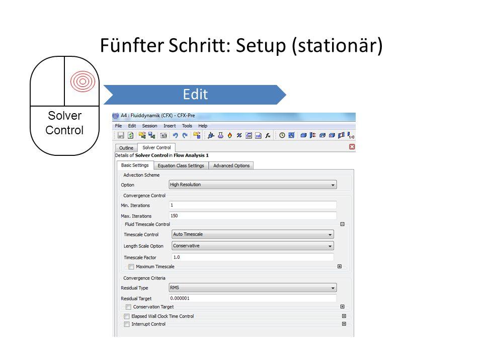 Fünfter Schritt: Setup (stationär) Solver Control Edit