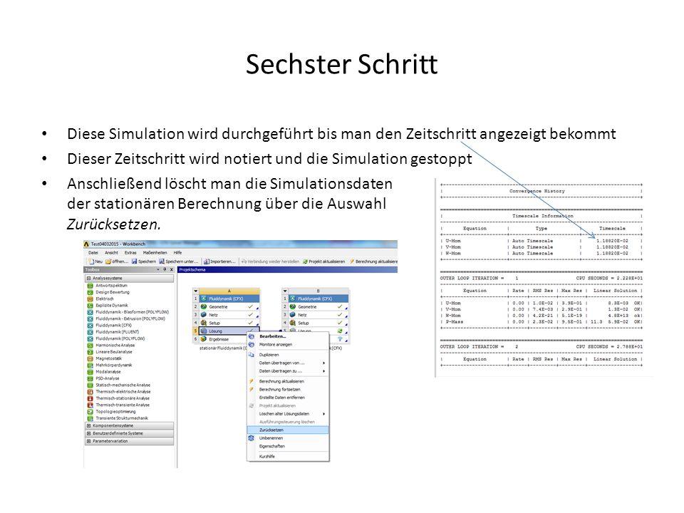 Sechster Schritt Diese Simulation wird durchgeführt bis man den Zeitschritt angezeigt bekommt Dieser Zeitschritt wird notiert und die Simulation gesto