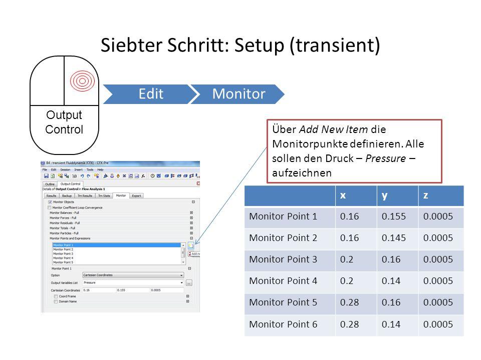 Siebter Schritt: Setup (transient) xyz Monitor Point 10.160.1550.0005 Monitor Point 20.160.1450.0005 Monitor Point 30.20.160.0005 Monitor Point 40.20.