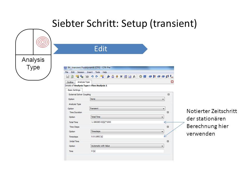 Siebter Schritt: Setup (transient) Notierter Zeitschritt der stationären Berechnung hier verwenden Analysis Type Edit