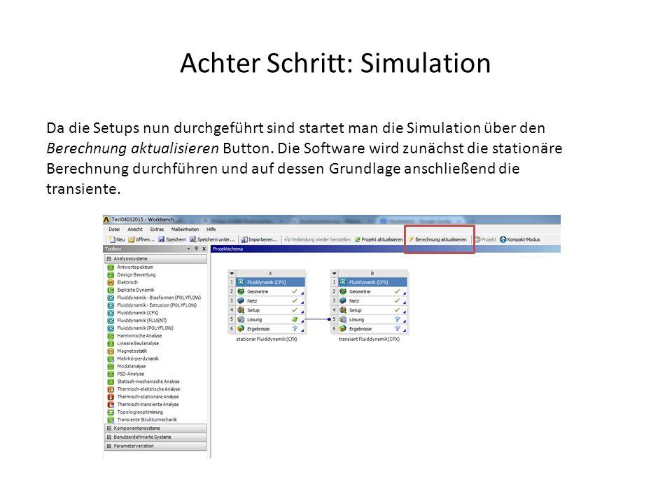 Achter Schritt: Simulation Da die Setups nun durchgeführt sind startet man die Simulation über den Berechnung aktualisieren Button. Die Software wird