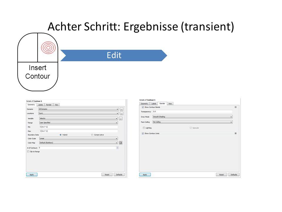 Achter Schritt: Ergebnisse (transient) Insert Contour Edit