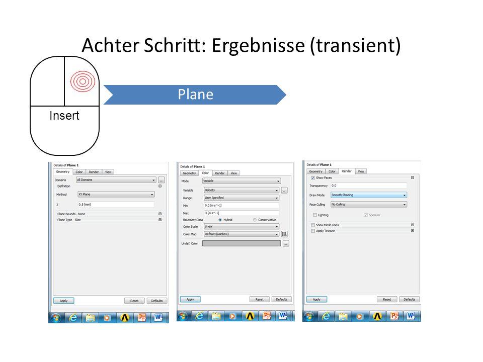 Achter Schritt: Ergebnisse (transient) Insert Plane