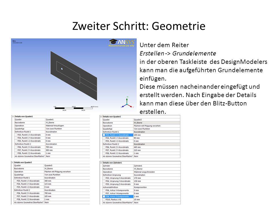 Zweiter Schritt: Geometrie Unter dem Reiter Erstellen -> Grundelemente in der oberen Taskleiste des DesignModelers kann man die aufgeführten Grundelem