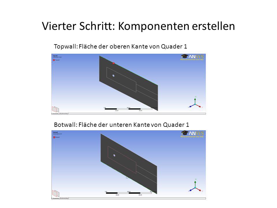 Vierter Schritt: Komponenten erstellen Topwall: Fläche der oberen Kante von Quader 1 Botwall: Fläche der unteren Kante von Quader 1