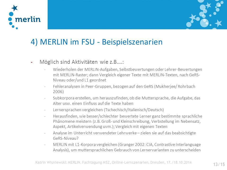 Katrin Wisniewski: MERLIN. Fachtagung MSZ, Online-Lernszenarien, Dresden, 17./18.10.2014 4) MERLIN im FSU - Beispielszenarien -Möglich sind Aktivitäte