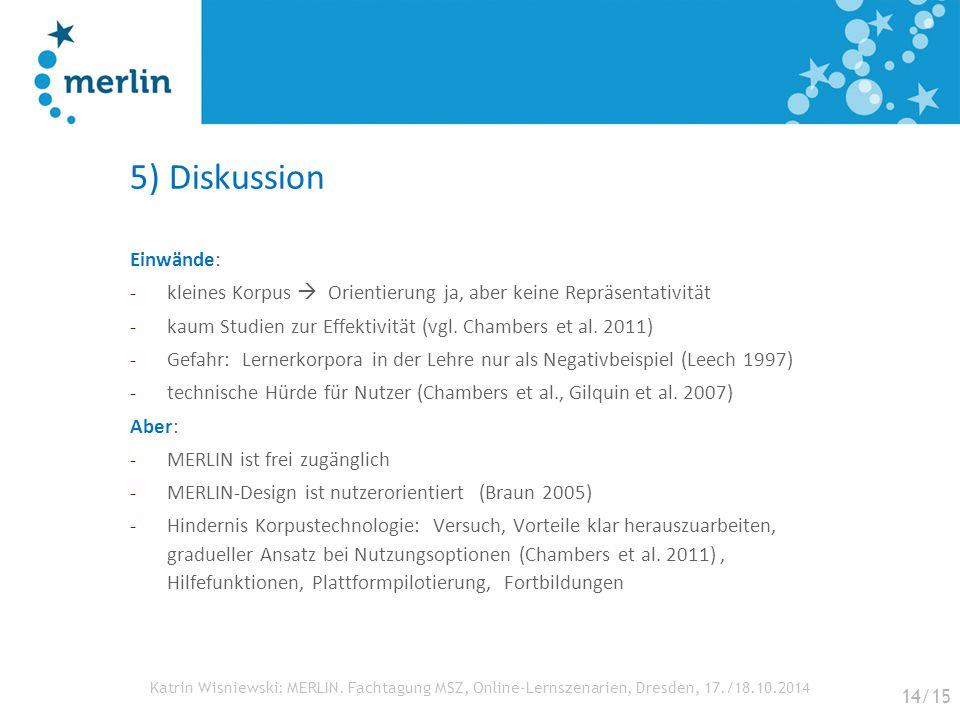 Katrin Wisniewski: MERLIN. Fachtagung MSZ, Online-Lernszenarien, Dresden, 17./18.10.2014 5) Diskussion Einwände: -kleines Korpus  Orientierung ja, ab