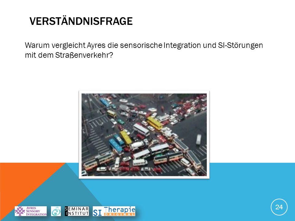 VERSTÄNDNISFRAGE 24 Warum vergleicht Ayres die sensorische Integration und SI-Störungen mit dem Straßenverkehr?