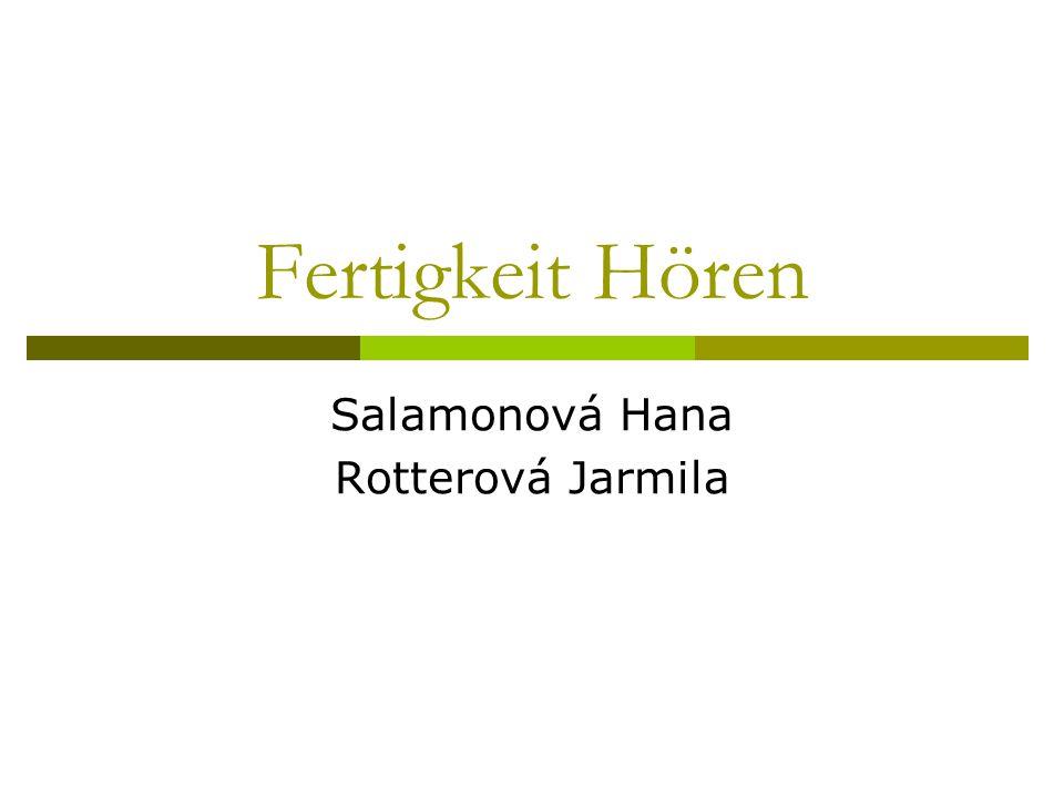 Fertigkeit Hören Salamonová Hana Rotterová Jarmila
