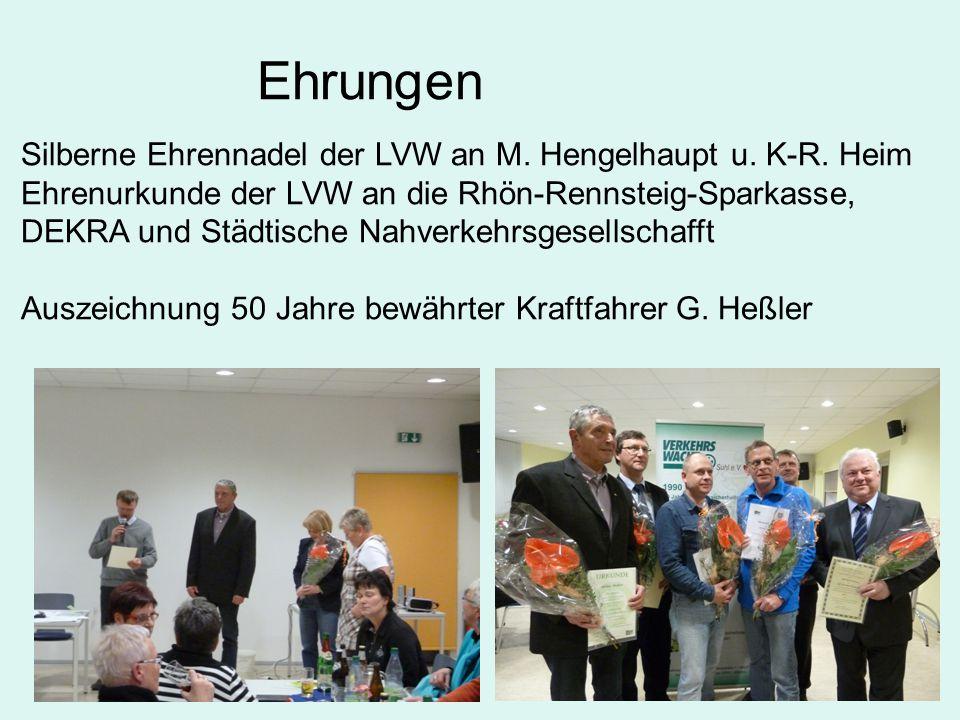 Ehrungen Silberne Ehrennadel der LVW an M. Hengelhaupt u.