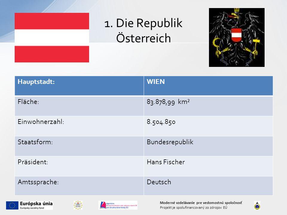 1. Die Republik Österreich Hauptstadt:WIEN Fläche:83.878,99 km² Einwohnerzahl:8.504.850 Staatsform:Bundesrepublik Präsident:Hans Fischer Amtssprache:D