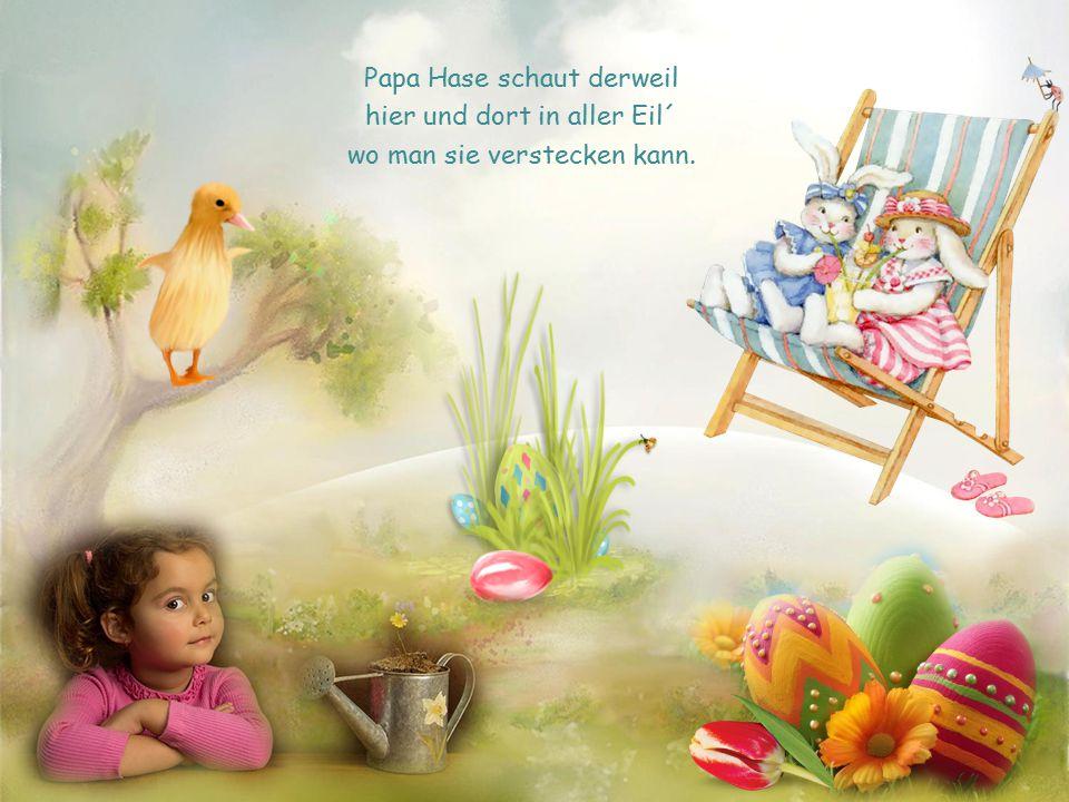Opa Hase, Mama Hase selbst der kleine Krümelhase malen bunt die Eier an.