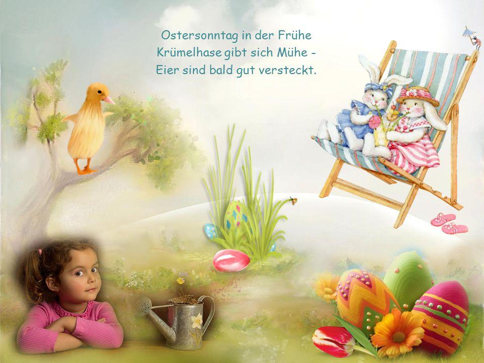 Ostersonntag in der Frühe Krümelhase gibt sich Mühe - Eier sind bald gut versteckt.