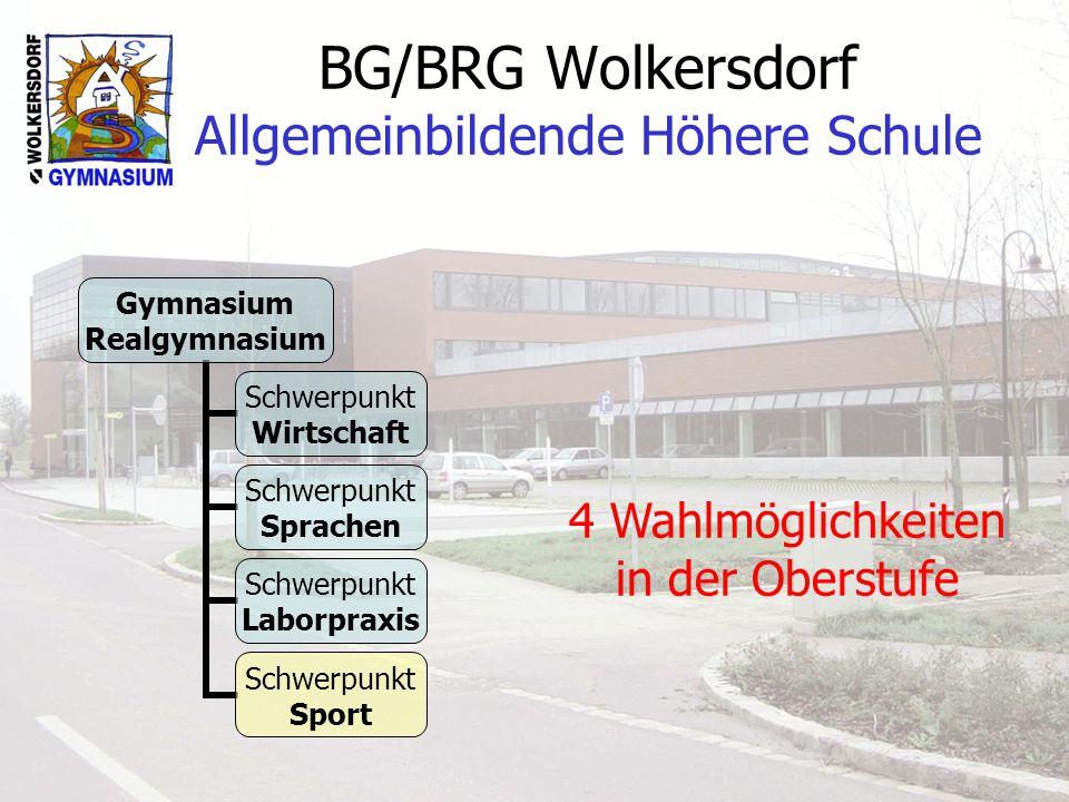 BG/BRG Wolkersdorf Allgemeinbildende Höhere Schule Gymnasium Realgymnasium Schwerpunkt Wirtschaft Schwerpunkt Sprachen Schwerpunkt Laborpraxis Schwerpunkt Sport 4 Wahlmöglichkeiten in der Oberstufe