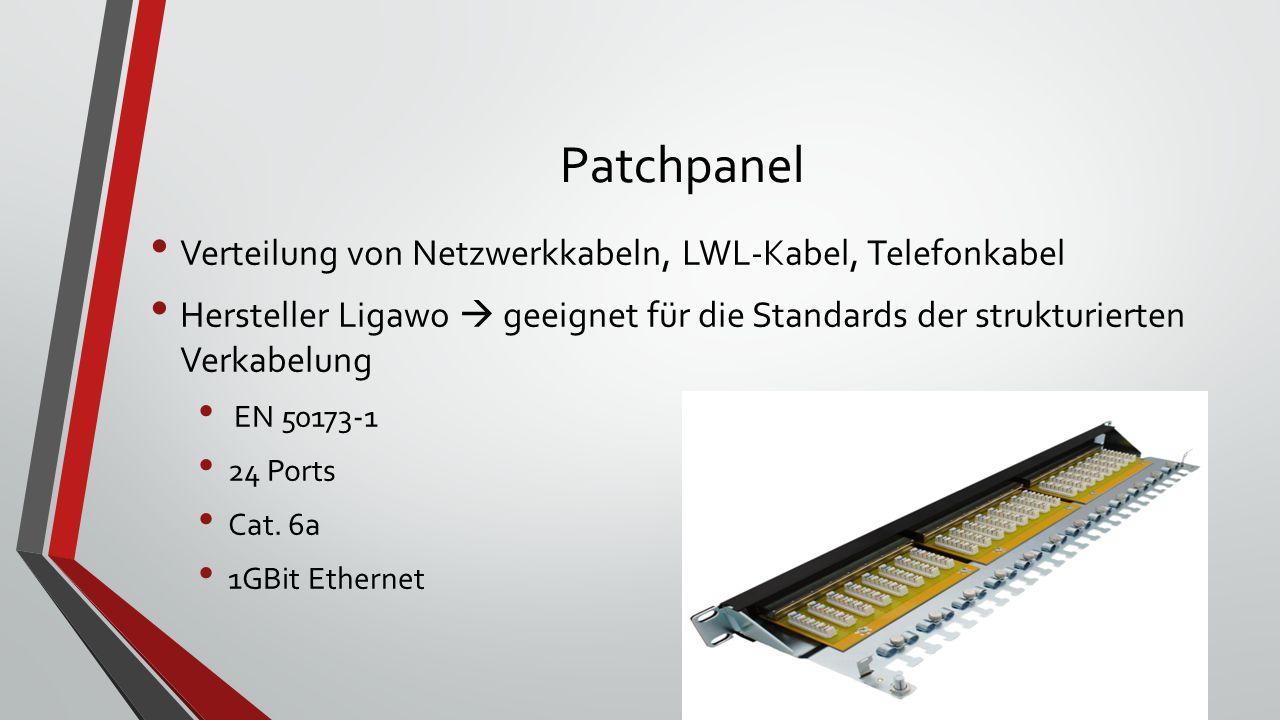 Patchpanel Verteilung von Netzwerkkabeln, LWL-Kabel, Telefonkabel Hersteller Ligawo  geeignet für die Standards der strukturierten Verkabelung EN 50173-1 24 Ports Cat.