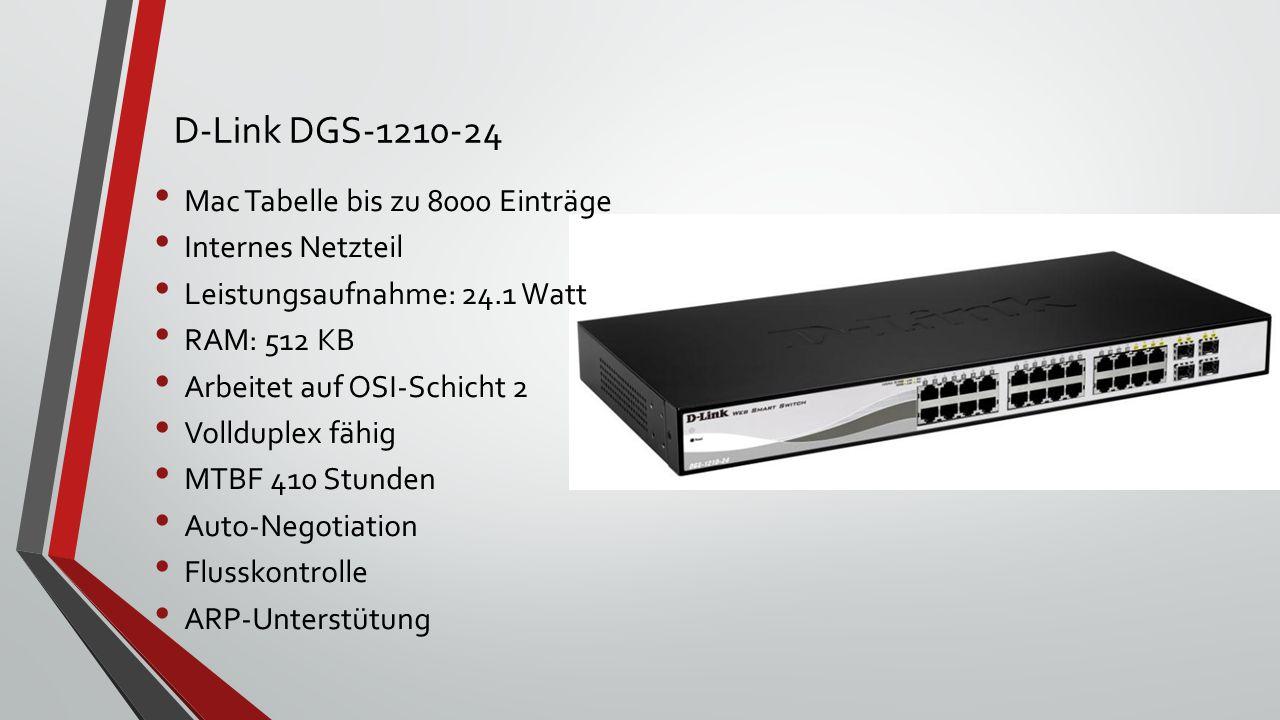 D-Link DGS-1210-24 Mac Tabelle bis zu 8000 Einträge Internes Netzteil Leistungsaufnahme: 24.1 Watt RAM: 512 KB Arbeitet auf OSI-Schicht 2 Vollduplex fähig MTBF 410 Stunden Auto-Negotiation Flusskontrolle ARP-Unterstütung