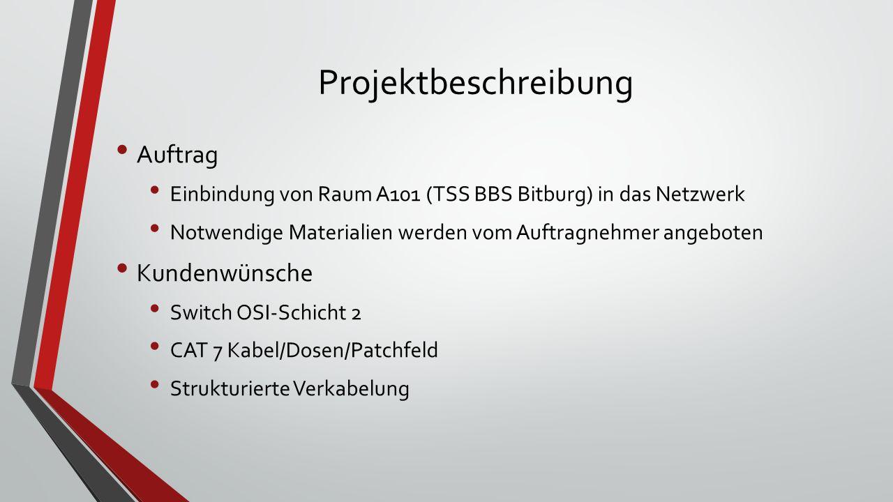 Projektbeschreibung Auftrag Einbindung von Raum A101 (TSS BBS Bitburg) in das Netzwerk Notwendige Materialien werden vom Auftragnehmer angeboten Kundenwünsche Switch OSI-Schicht 2 CAT 7 Kabel/Dosen/Patchfeld Strukturierte Verkabelung