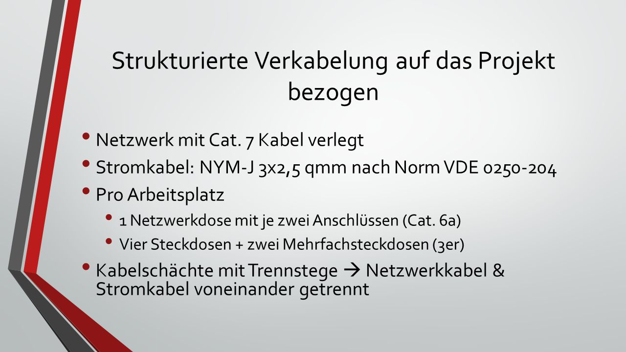 Strukturierte Verkabelung auf das Projekt bezogen Netzwerk mit Cat.