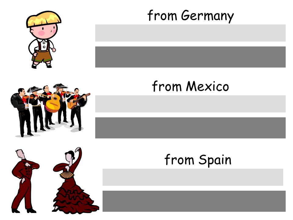 from Germany aus Deutschland from Mexico aus Mexico from Spain aus Spanien