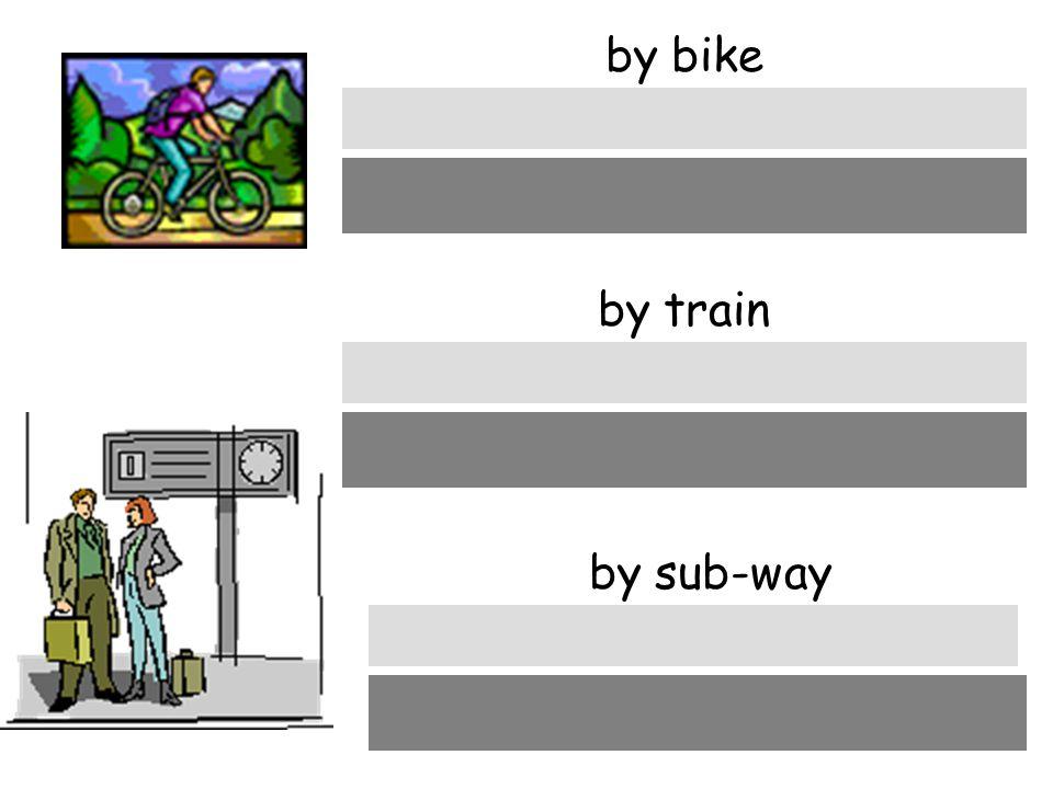 by bike mit dem Rad by train mit dem Zug by sub-way mit der U-Bahn