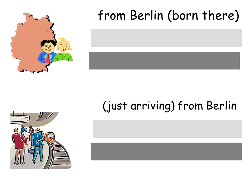from Berlin (born there) (just arriving) from Berlin aus Berlin von Berlin
