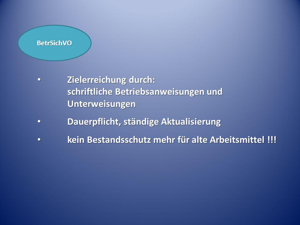 BetrSichVO Zielerreichung durch: schriftliche Betriebsanweisungen und Unterweisungen Zielerreichung durch: schriftliche Betriebsanweisungen und Unterw
