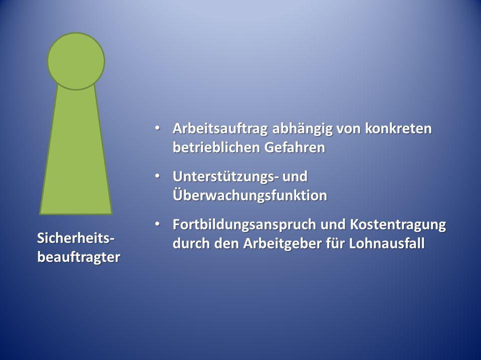 Arbeitsauftrag abhängig von konkreten betrieblichen Gefahren Arbeitsauftrag abhängig von konkreten betrieblichen Gefahren Unterstützungs- und Überwach