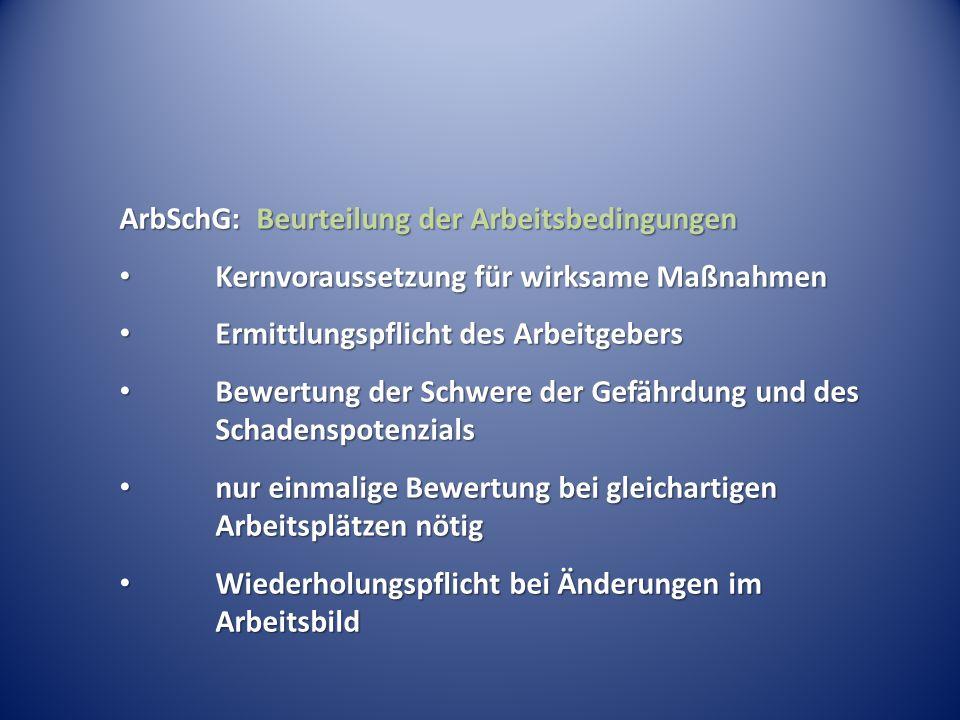 ArbSchG: Beurteilung der Arbeitsbedingungen Kernvoraussetzung für wirksame Maßnahmen Kernvoraussetzung für wirksame Maßnahmen Ermittlungspflicht des A