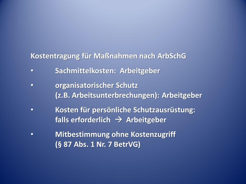 Kostentragung für Maßnahmen nach ArbSchG Sachmittelkosten: Arbeitgeber Sachmittelkosten: Arbeitgeber organisatorischer Schutz (z.B. Arbeitsunterbrechu