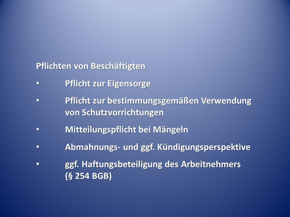 Pflichten von Beschäftigten Pflicht zur Eigensorge Pflicht zur Eigensorge Pflicht zur bestimmungsgemäßen Verwendung von Schutzvorrichtungen Pflicht zu