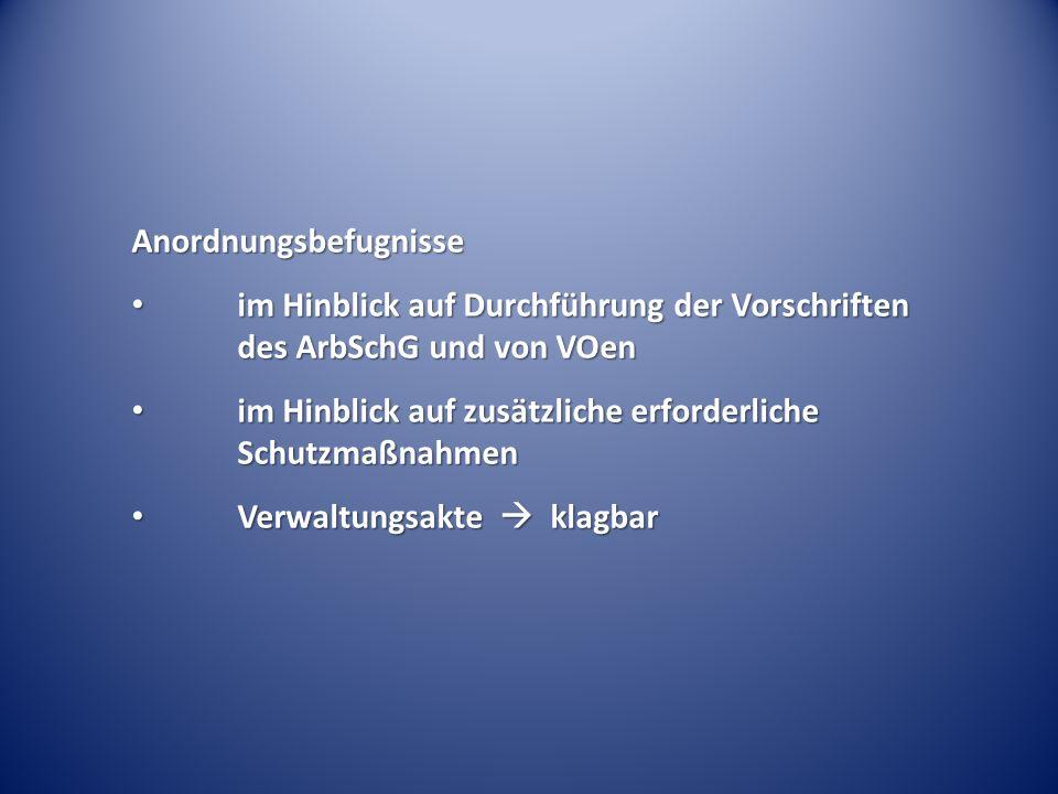 Anordnungsbefugnisse im Hinblick auf Durchführung der Vorschriften des ArbSchG und von VOen im Hinblick auf Durchführung der Vorschriften des ArbSchG