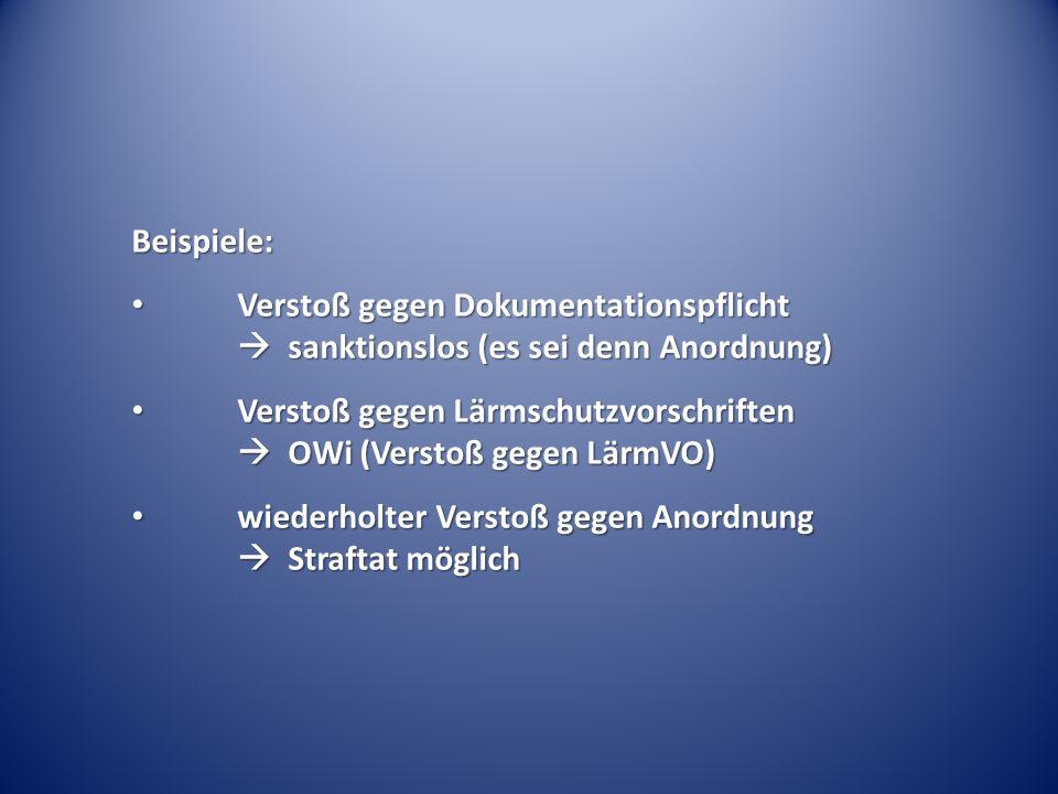 Beispiele: Verstoß gegen Dokumentationspflicht  sanktionslos (es sei denn Anordnung) Verstoß gegen Dokumentationspflicht  sanktionslos (es sei denn