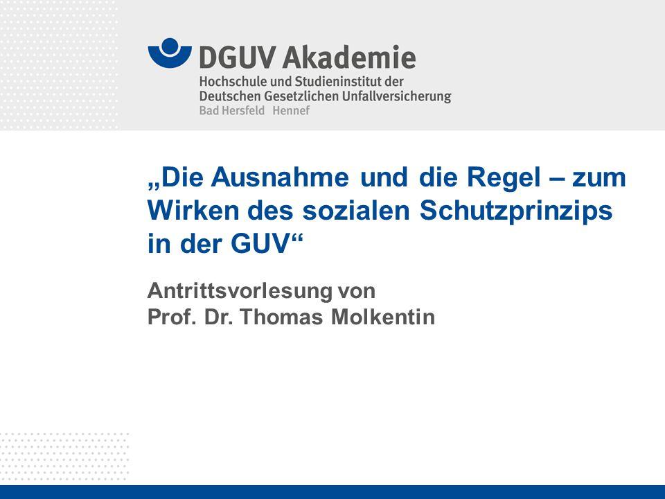 """""""Die Ausnahme und die Regel – zum Wirken des sozialen Schutzprinzips in der GUV"""" Antrittsvorlesung von Prof. Dr. Thomas Molkentin"""